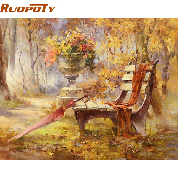 Chair Park Autumn Landscape DIY Painting By Numbers Wall Art Picture Handpainted Oil Painting For Home Decor Artwork