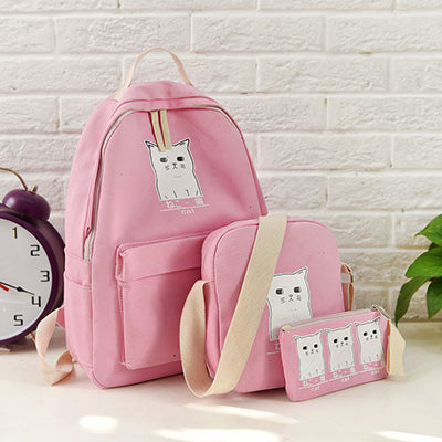 ... Women Backpack Cat Printing Canvas School Bags For Teenager Girls  Preppy Style 3 Set PC e0263791868de