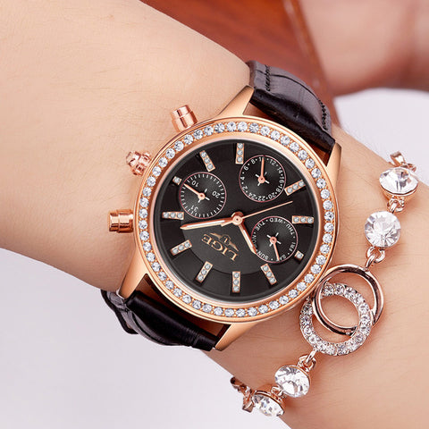 Women Watches Lige Luxury Brand Girl Quartz Watch Casual Leather