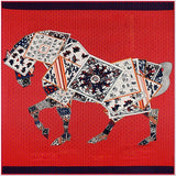 Luxury Brand 100% Twill Silk Scarf Multicolor Horse Square Scarf Paris Design Print Kerchief Woman Neck Shawl Wraps Echarpe