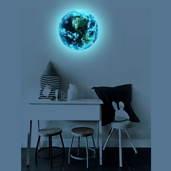 1pcs Luminous blue earth Cartoon DIY 3d Wall Stickers for kids rooms bedroom wall sticker Home decor Living Room