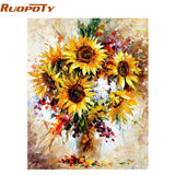 Yellow Sunflower Diy Digital Painting By Numbers Acrylic Picture Modern Wall Art Hand Painted Oil Painting For Home