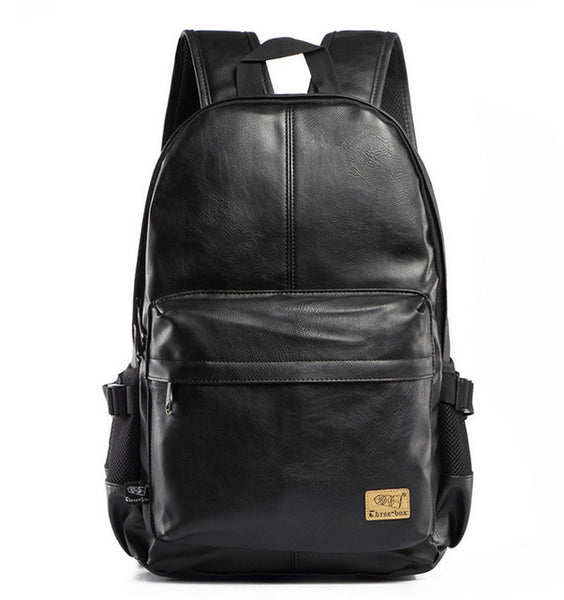 Three-Box Brand Men Women PU Leather Vintage Backpack Leisure Teenagers Male School Day Rucksack Shoulder Laptop Bags