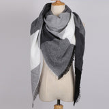 Triangular Scarf Acrylic Pashmina Fashion Tassels Plaid Shawl Warm Winter For Women
