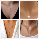 Minimalist Infinity Luck 8 Cross Leaf Pendants Necklaces For Women Jewelry Clavicle Chain Collier