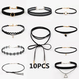 ZIRIS 15 Pcs/pack Choker Necklace Black Lace Leather Velvet strip  woman Collar Party Jewelry Neck accessories chokers