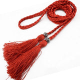 Woven tassel belt ladies belt Korean version of the bow tie rope dress knot decorated waist chain waist rope