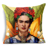 Hyha Frida Kahlo Polyester Cushion Cover Self-portrait 43X43cm Pillow Case Home Decorative Pillows Cover For Sofa Car