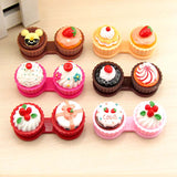 1PCS Cartoon Cute Cream Cake Glasses Double Contact Lenses Box Contact Lens Case For Eye Care Kit Holder Container, 6 colors