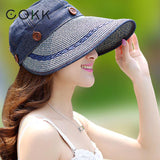 Hats Women Wide Large Brim Floppy Summer Beach Sun Hat Straw Hat Button Cap Summer Hats For Women Anti-uv Visor Cap Female
