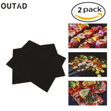2 pcs Reusable Non-Stick BBQ Grill Mat Pad Baking Sheet Meshes Portable Outdoor Picnic Cooking Barbecue Tool