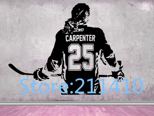 Hockey Girls Wall Stickers Personalized Name Women - Girls ice Hockey Player choose jersey name & numbers hockey wall Decal