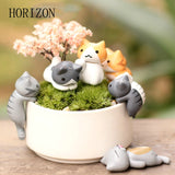 Fashion 1Set/6pcs Cartoon Cat Micro Landscape Garden Decorations Miniature Craft  Home Decor Random Color