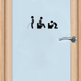 Personality Toilet Icon Picto Vinyl Door Sticker Stylish Home Decoration Accessories Wall Sticker