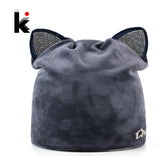 Women's Beanies Cat Hat Ladies Warm Velvet Skullies Cap With Flashing Rhinestone Ear Flaps Girls Cute Hat