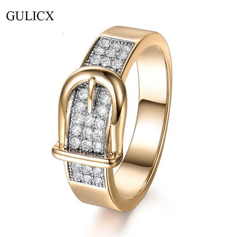 GULICX Shining Belt Rings for Women Tiny CZ Paved Cubic Zirconia Stone Accessories Wedding Jewelry Birthday Gift
