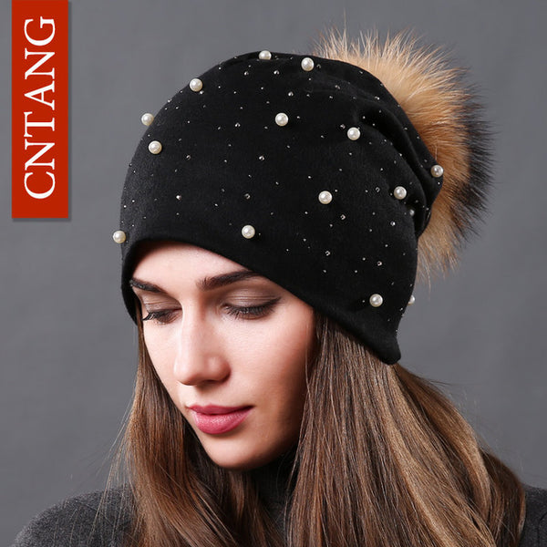 b8a4ac74f3c Women s Fashion Hat Autumn Winter Rhinestones Pearl Hats Female Beanie –  Luxberra