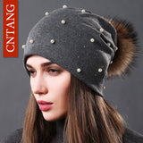 Women's Fashion Hat Autumn Winter Rhinestones Pearl Hats Female Beanies Natural Raccoon Fur Pompom Cotton Warm Caps