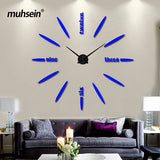 Wall Clock Acrylic+EVR+Metal Mirror Super Big  Watches Clocks DIY wedding decoration