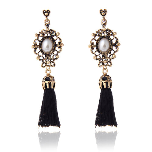 Vintage Accessories Rhinestone Crystal Alloy Flower Tassel Earrings For Women Pendientes Brincos Statement Earrings