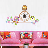 Cute Owl Wall Clocks Cartoon Sticker Large Decorative Wall Clocks Kids Bedroom Children Home Decor Big Kids Wall Clock Reloj