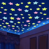 100pcs/bag 3cm&3.8cm Fashion Wonderful Solid Stars Moon Glow in the Dark Kid's Bedroom Corridor Ceiling Fluorescent Wall Stickers