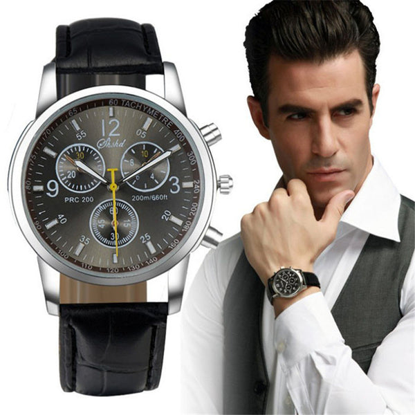 Business Dress Men Watch Crocodile Faux Leather Mens Analog Watch Top Brand Masculine