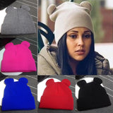 Women's Winter Hats Warm Knitted Braid Hat With Ears Women's Hat Knit Caps Female Beanies Hip-hop Skullies Bonnet Femme