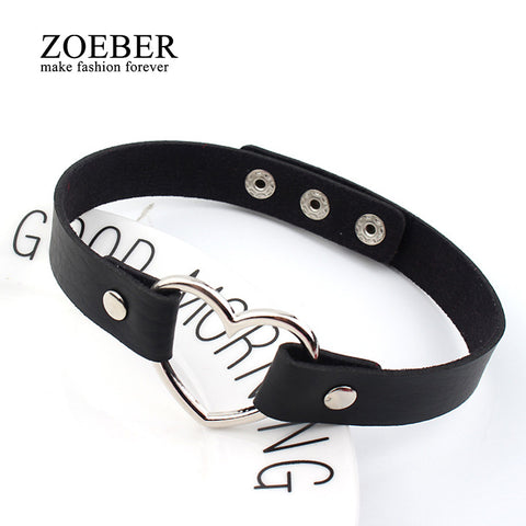 Charm female choker Trendy Stainless Steel Heart Chokers Necklaces Colorful Leather Buckle Belt Jewelry for Women Men maxi collar