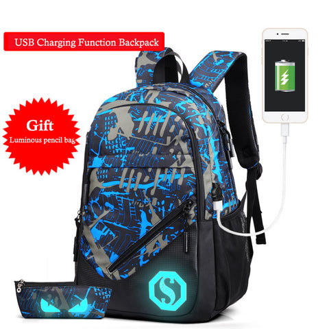 ... Bag  USB Charging Men s Backpacks Male Casual Travel Luminous School  Bags Laptop Backpack ... a78bbb0719ef7