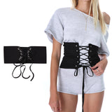 Trend Women Lace Up Belt Vintage Knitted Waist Belts Corset Wide Waist Belt For Women Bandage Shape-Making Waistband Black