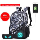 Fashion Men's Backpack Luminous Students School Bags  External USB Charge Laptop Backpacks Teenagers Casual Travel Bag