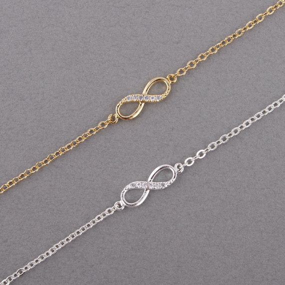 Shuangshuo Fashion Infinity Bracelet for Women with Crystal Stones Bracelet Infinity Number 8 Chain Bracelets