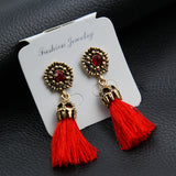 Vintage Crystal Earring Exquisite Handmade Red Black Gray Tassel Earring For Women Fashion Wedding Party Jewelry