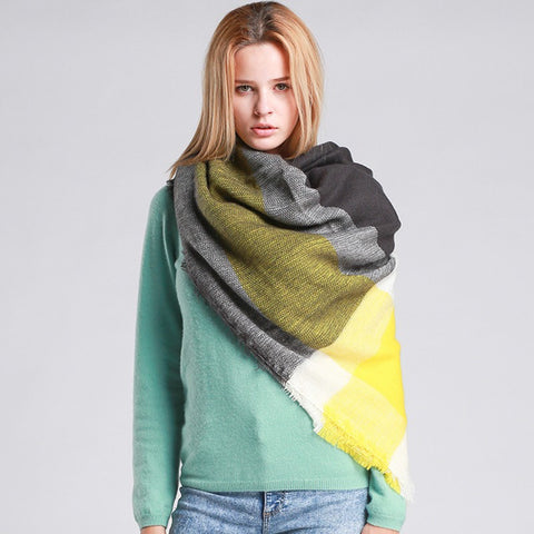 WORSICO Za Winter Brand Cashmere Scarf Women Blanket Scarf Plaid Scarf Pashmina Poncho Shawls and Scarves Wraps