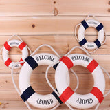 Navy Mediterranean Sea Life Buoy Wall Stickers Hanging Lifebuoy For Bar Home Decor Props Nautical Life Ring Wedding Crafts