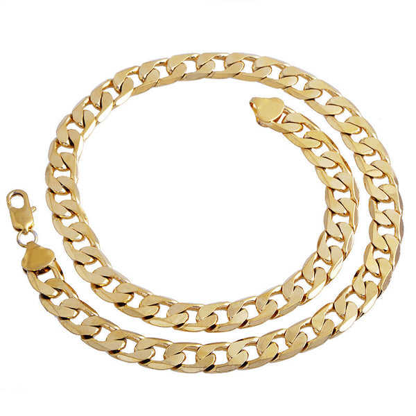 Gold Color Twisted Singapore Chain 24inch 7mm Gold Color Necklace For Women Men DIY Long Necklace Jewelry
