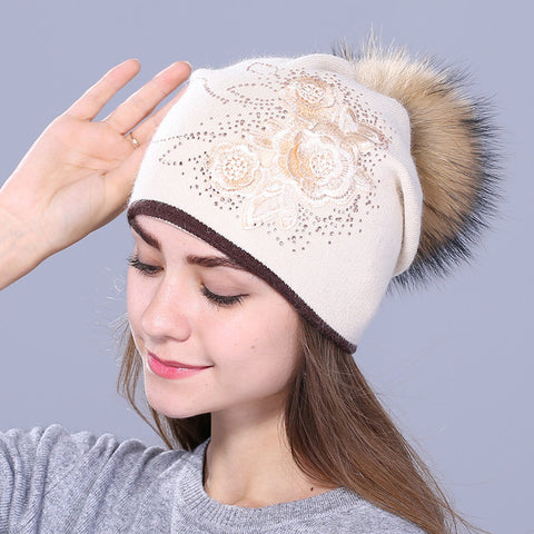 ... Xthree women s winter hat Rabbit fur wool knitted hat the female of the  mink hats for ... da373164dbb5