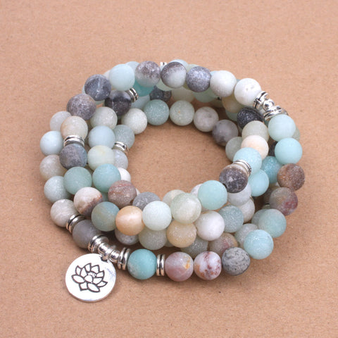 Fashion Women`s bracelet Matte Frosted Amazonite beads with Lotus OM Buddha Charm Yoga Bracelet 108 mala necklace
