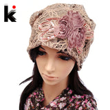Women's Beanie Pilecap female spring and autumn lace thin pocket cutout mesh toe cap turban hat covering