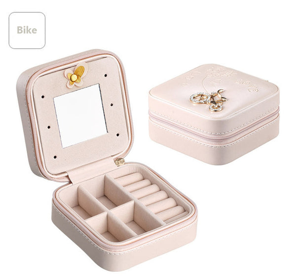 Mini Travel jewelry box cosmetic makeup organizer packaging Boxes earrings storage Casket Container for girls