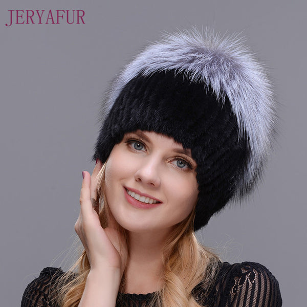 Fashion Winter Warm Women Knitting Caps Mink hats Vertical weaving with FOX Fur On The Top