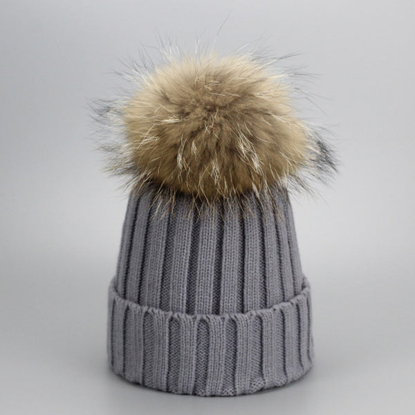 Real Fur Winter Hat Raccoon Pom Pom Thick Hat Girls Caps Knitted Beanies Cap