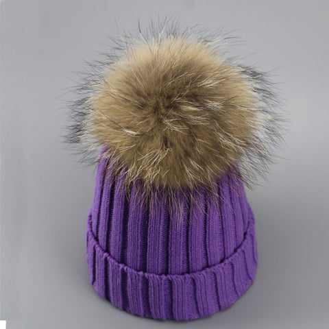 bfee4a1fcf1 ... Real Fur Winter Hat Raccoon Pom Pom Thick Hat Girls Caps Knitted  Beanies Cap ...