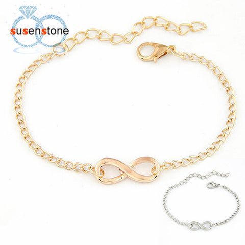 SUSENSTONE New Fashion Link Chain Women Men Handmade Gift Charm 8 Shape Jewelry Infinity Bracelet Siver and Gold