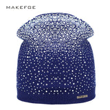 Women's Winter Hat Knitted Wool Beanie Female Fashion Skullies Casual Outdoor Mask Ski Caps Thick Warm Rhinestones Hat