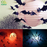12Pcs Black 3D DIY PVC Bat Wall Sticker Decals for Halloween Festival Party Decoration Halloween Stickers