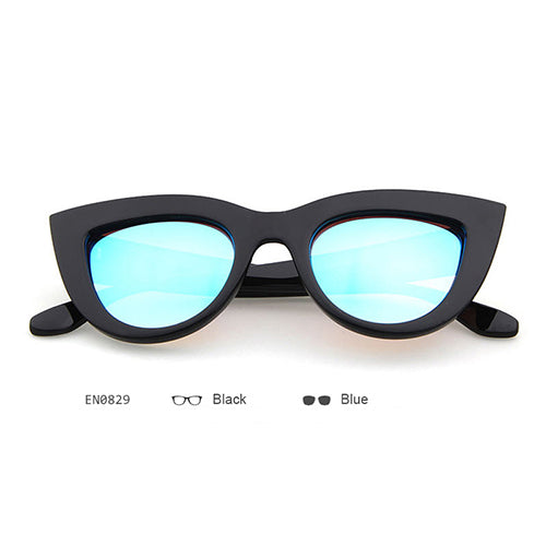 5591d54e0a472 Vintage Mirror Cat Eye Sunglasses Women Brand Designer Retro Black Sun –  Luxberra