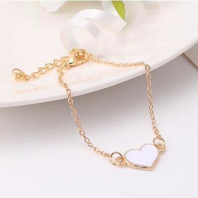 Fashion Red Love Heart Metal Bracelets For Women Gold Color Bracelets & Bangles