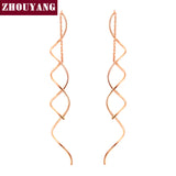ZHOUYANG Top Quality Simple Spiral Ear Line Rose Gold Color Fashion Earrings Jewelry